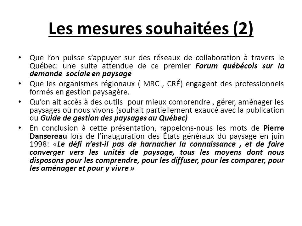 Les mesures souhaitées (2)
