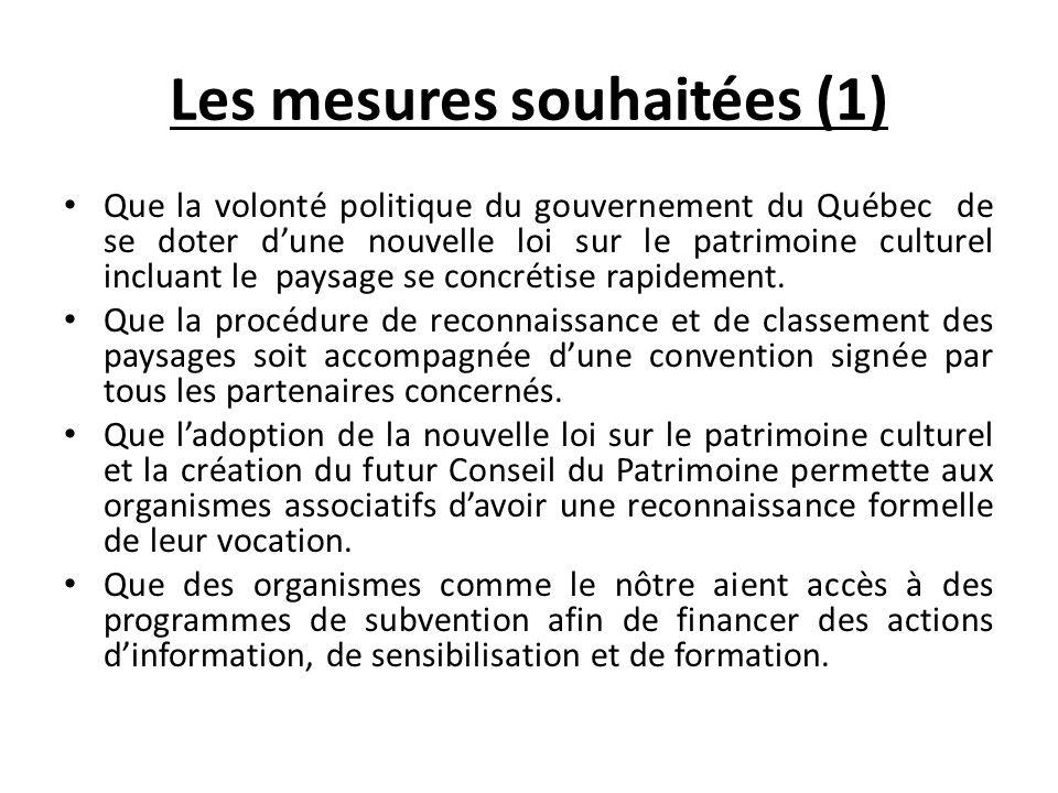 Les mesures souhaitées (1)