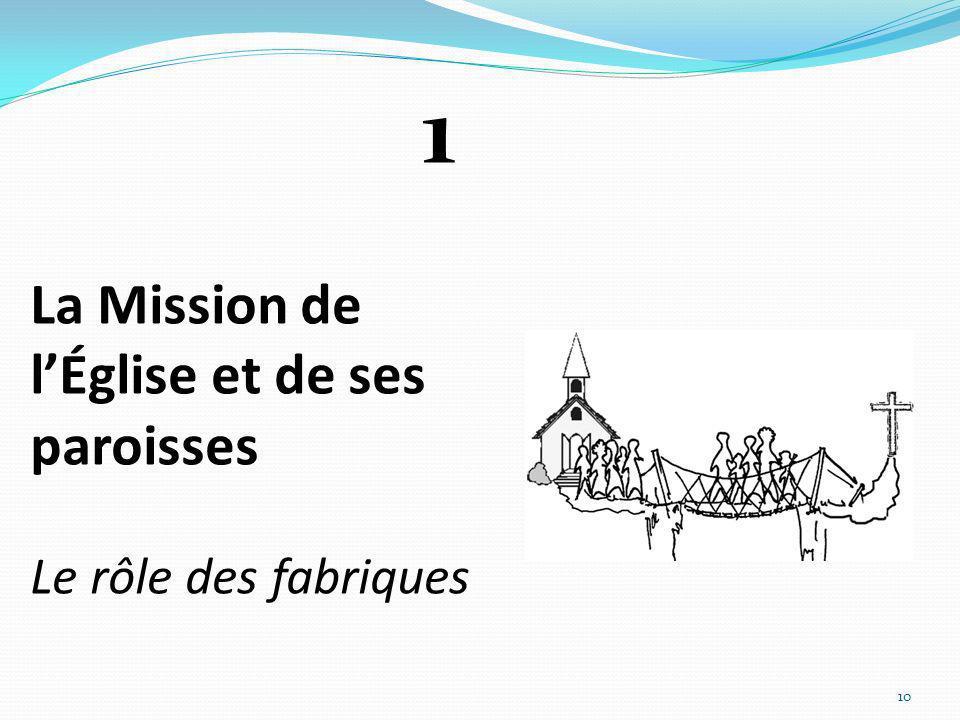 La Mission de l'Église et de ses paroisses Le rôle des fabriques