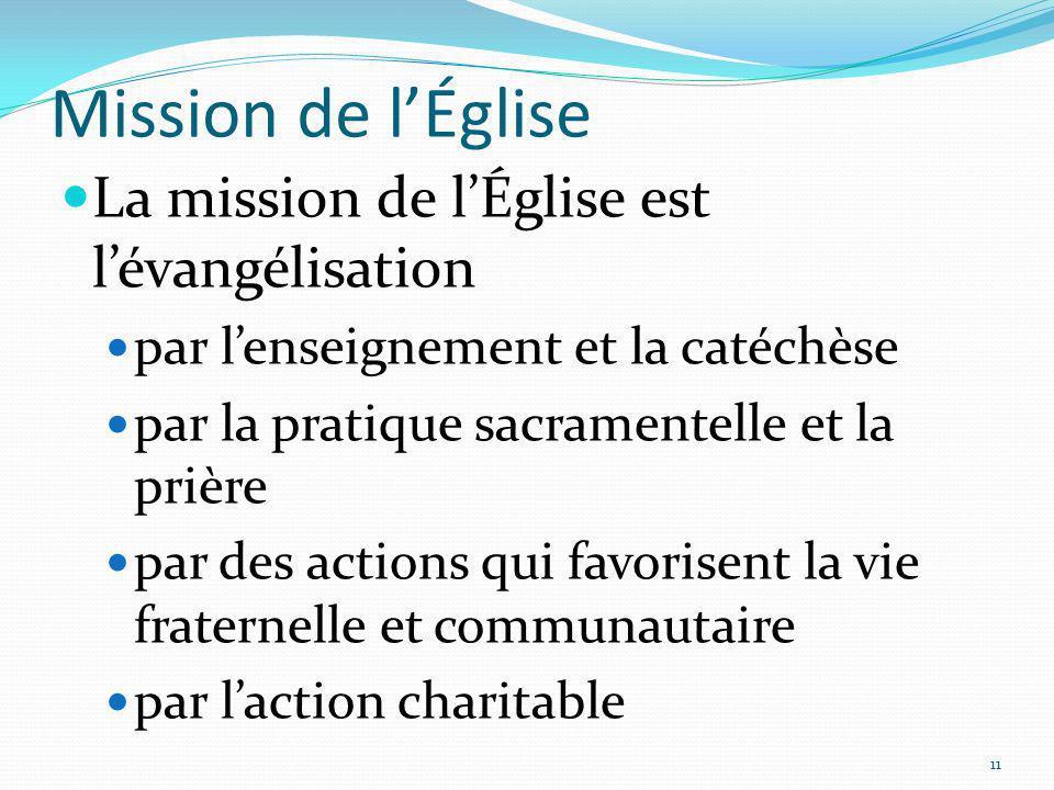 Mission de l'Église La mission de l'Église est l'évangélisation