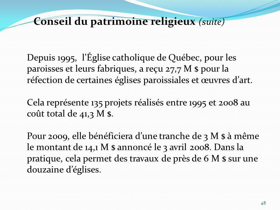 Conseil du patrimoine religieux (suite)