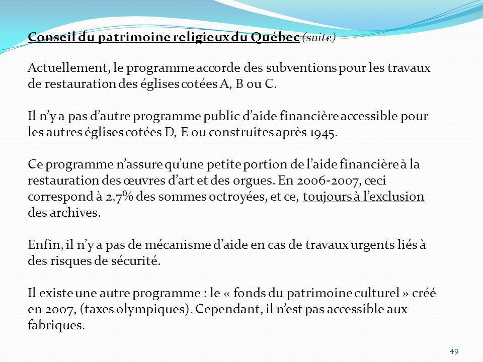 Conseil du patrimoine religieux du Québec (suite)