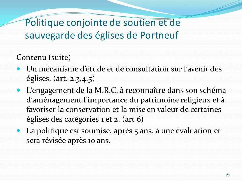 Politique conjointe de soutien et de sauvegarde des églises de Portneuf