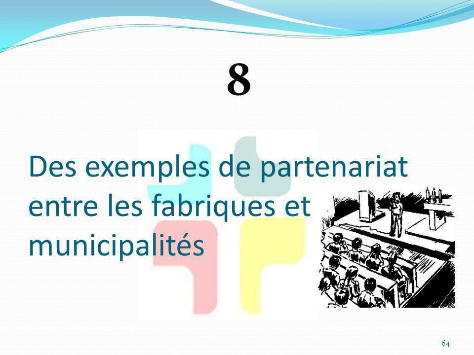 Des exemples de partenariat entre les fabriques et municipalités