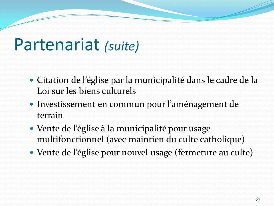 Partenariat (suite) Citation de l'église par la municipalité dans le cadre de la Loi sur les biens culturels.