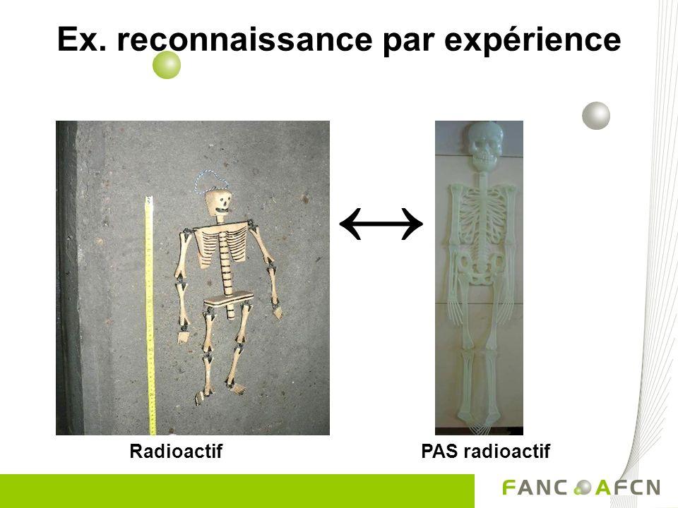 Ex. reconnaissance par expérience Radioactif PAS radioactif