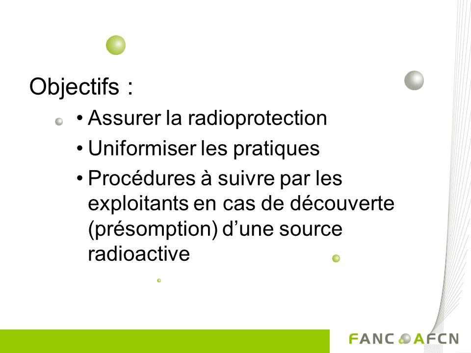 Objectifs : Assurer la radioprotection Uniformiser les pratiques