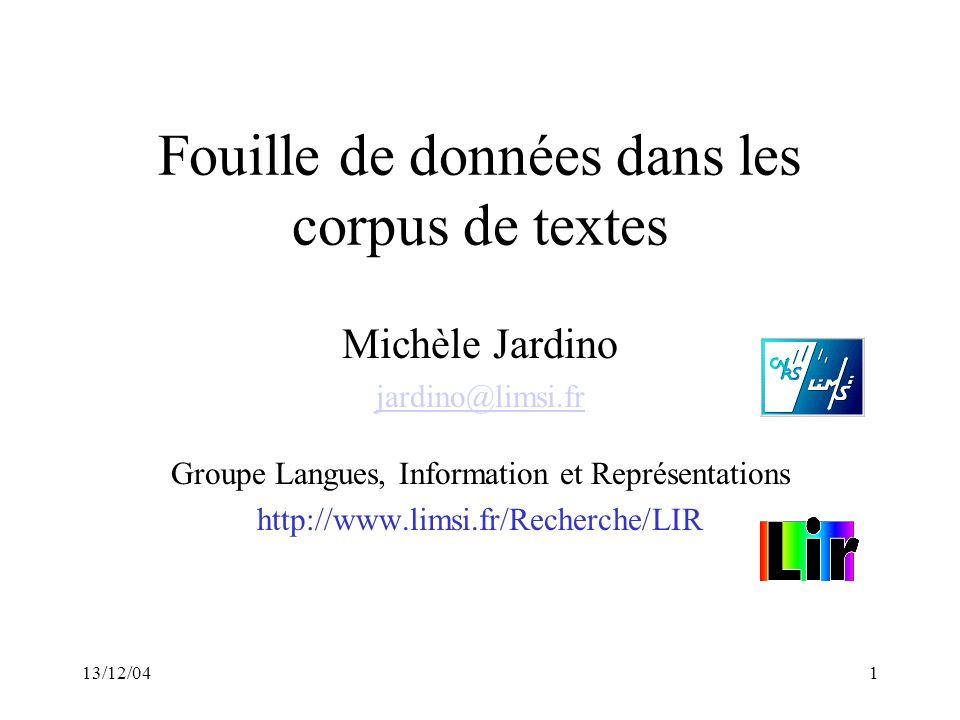 Fouille de données dans les corpus de textes