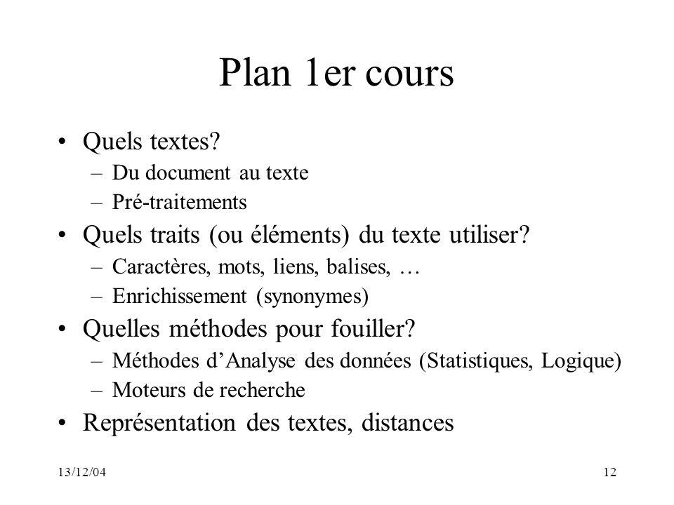 Plan 1er cours Quels textes