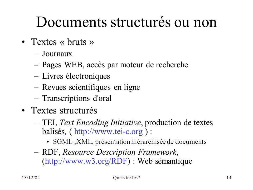 Documents structurés ou non