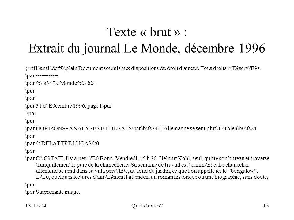 Texte « brut » : Extrait du journal Le Monde, décembre 1996