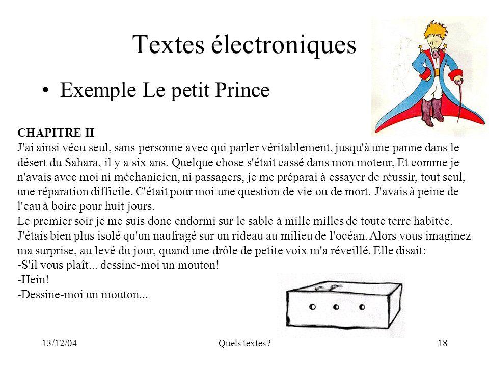 Textes électroniques Exemple Le petit Prince CHAPITRE II