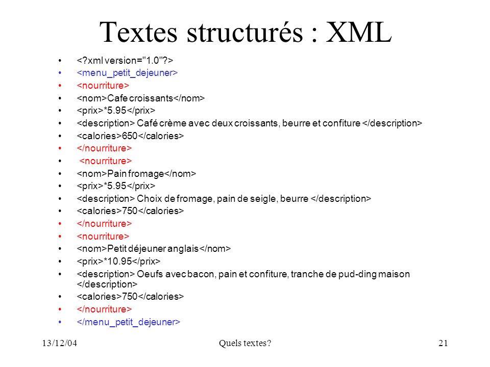 Textes structurés : XML