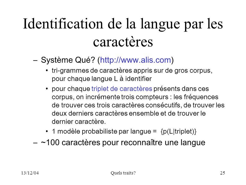 Identification de la langue par les caractères