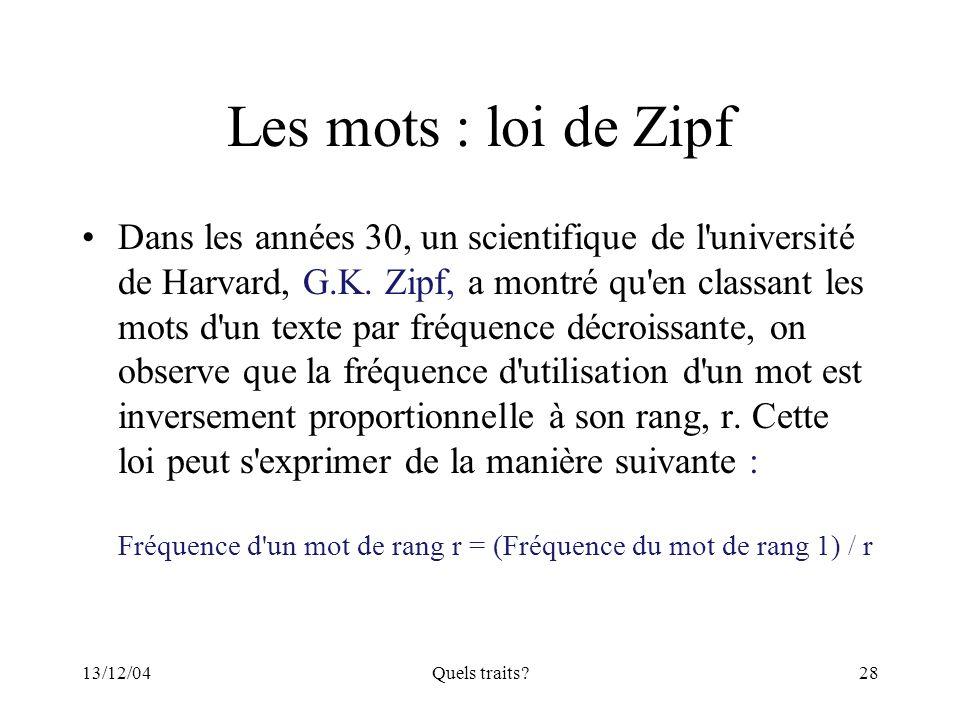 Les mots : loi de Zipf