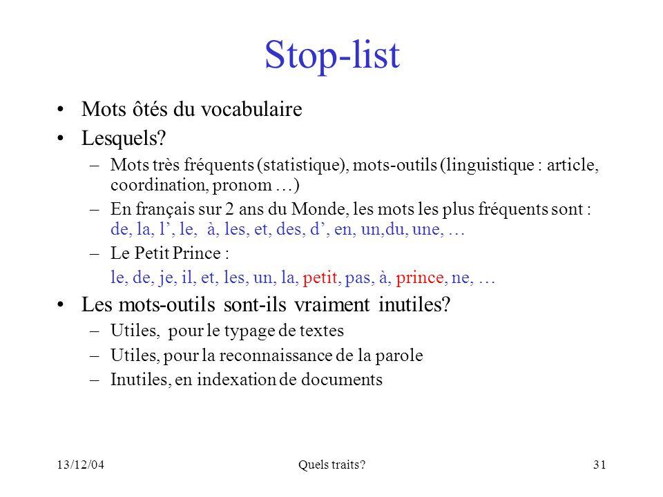 Stop-list Mots ôtés du vocabulaire Lesquels