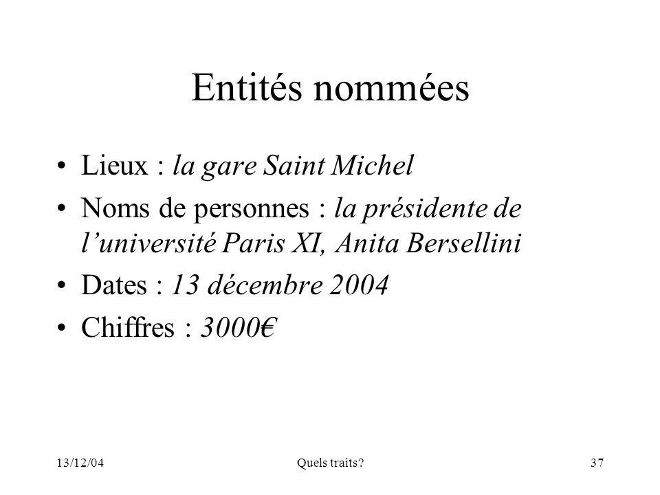 Entités nommées Lieux : la gare Saint Michel