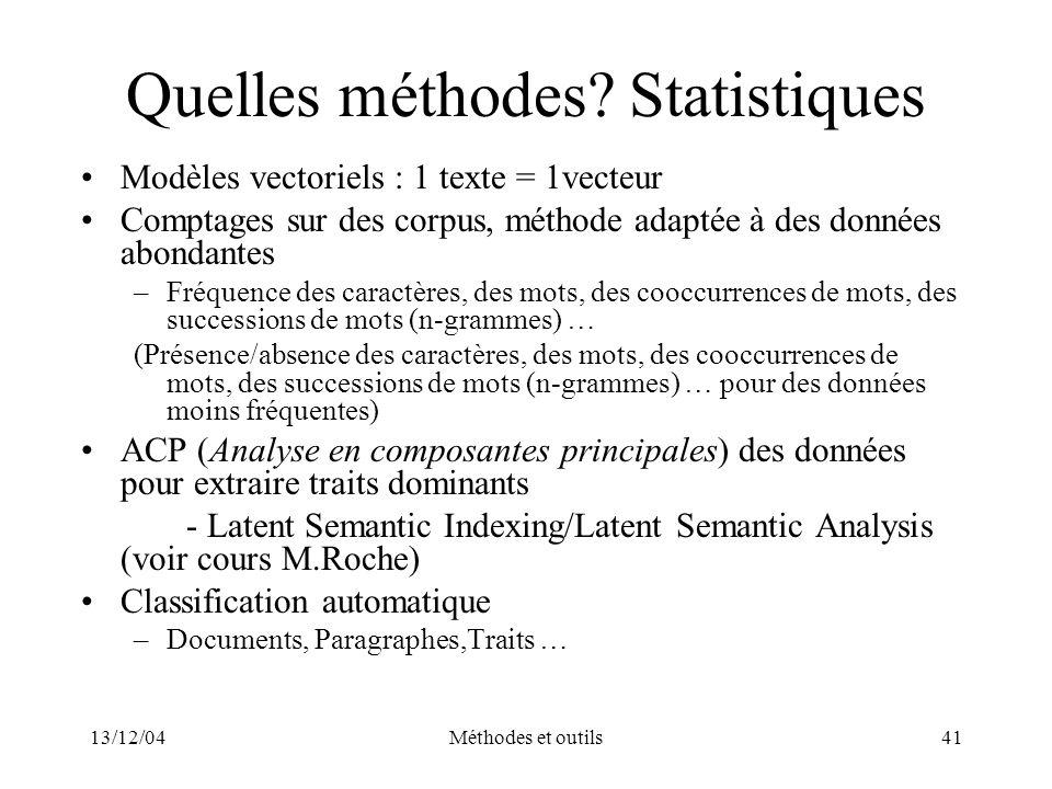Quelles méthodes Statistiques