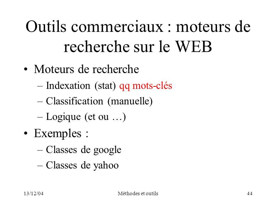 Outils commerciaux : moteurs de recherche sur le WEB
