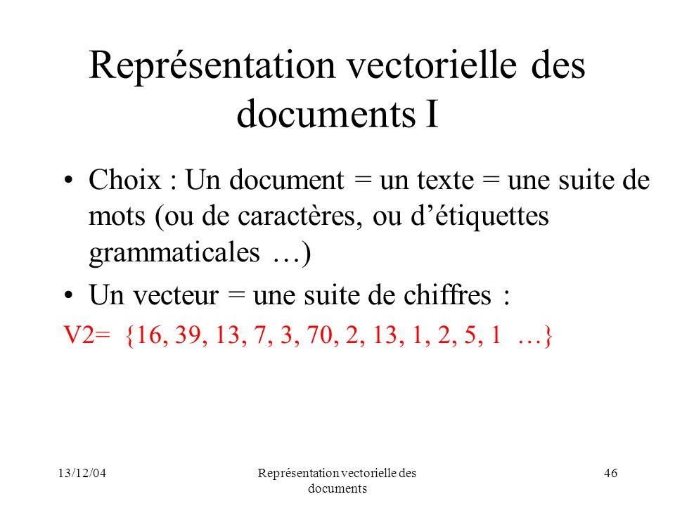 Représentation vectorielle des documents I