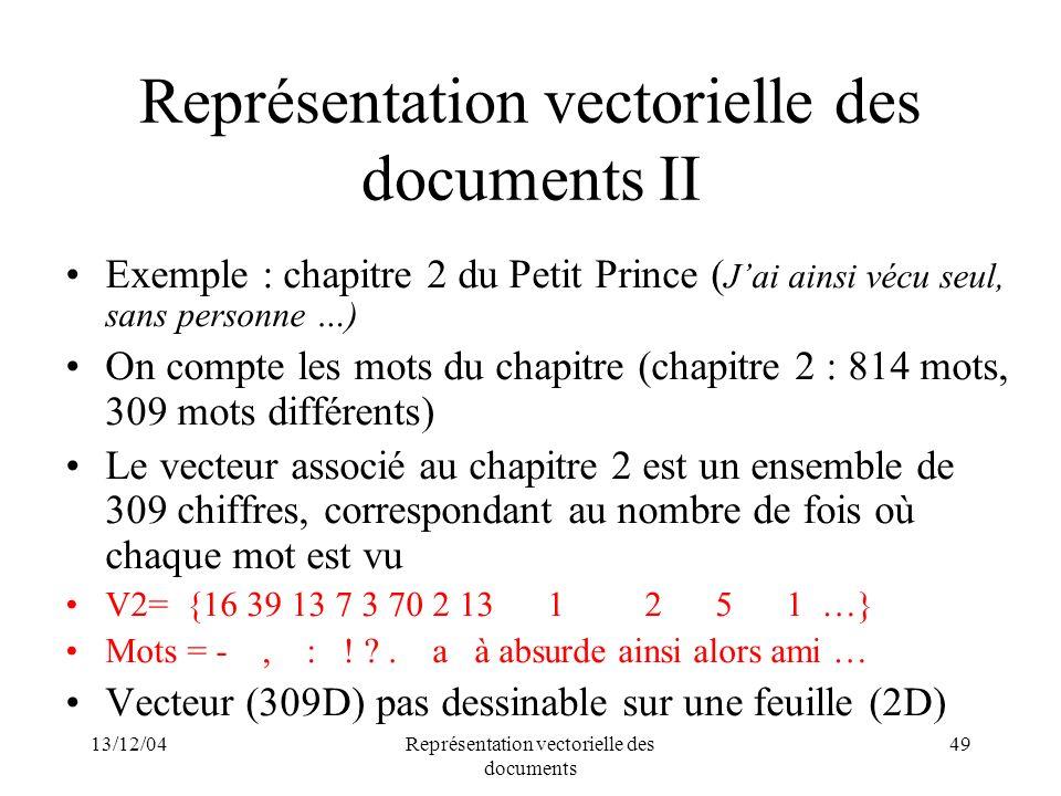 Représentation vectorielle des documents II