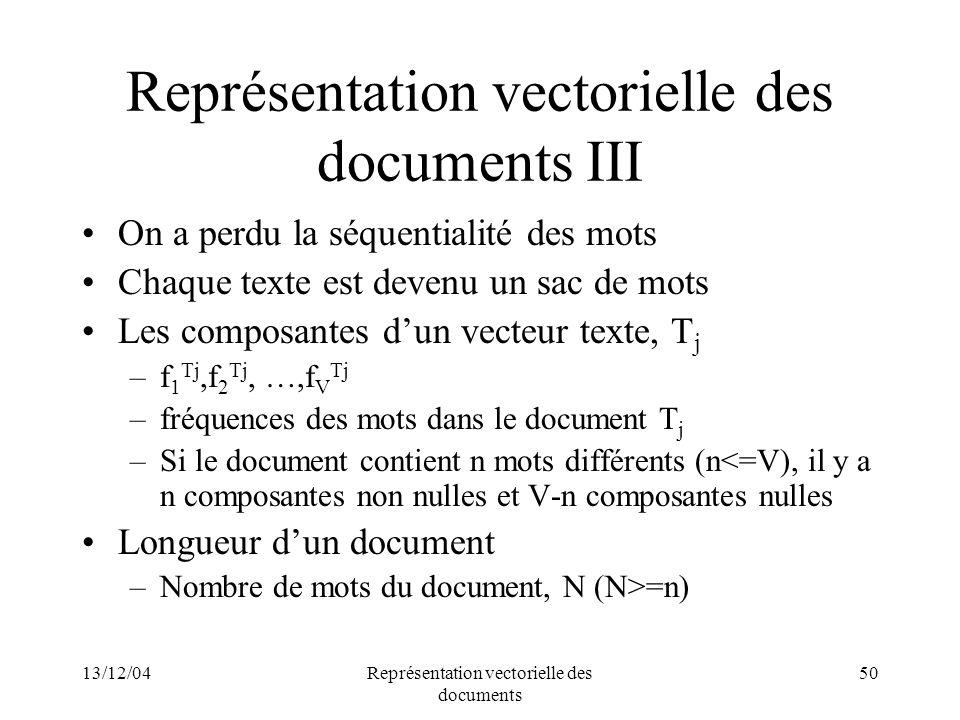 Représentation vectorielle des documents III