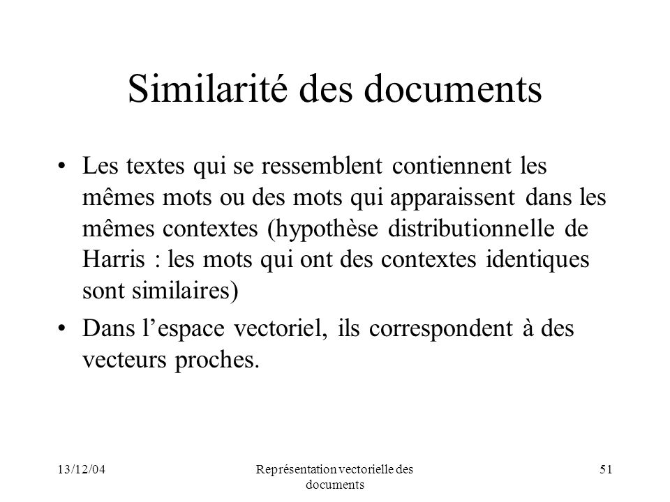 Similarité des documents