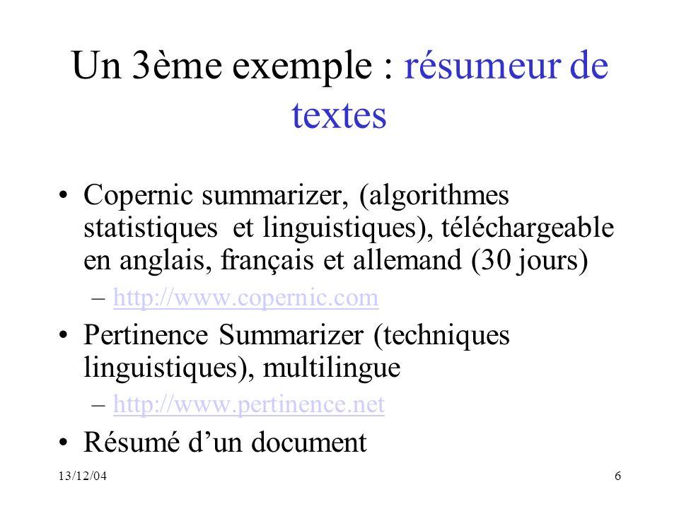 Un 3ème exemple : résumeur de textes