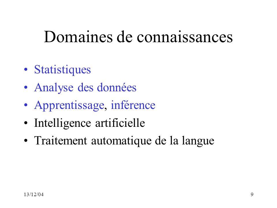 Domaines de connaissances