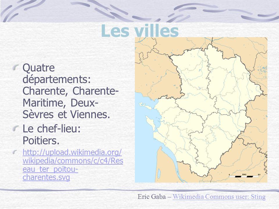 Les villes Quatre départements: Charente, Charente-Maritime, Deux-Sèvres et Viennes. Le chef-lieu: Poitiers.