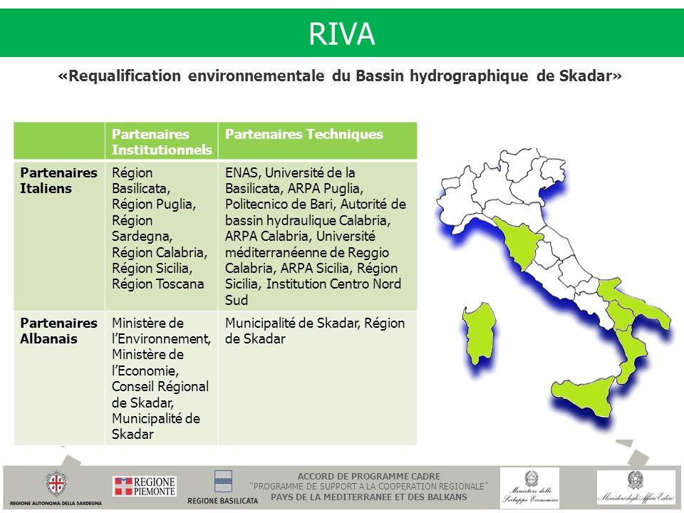 RIVA «Requalification environnementale du Bassin hydrographique de Skadar» Partenaires Institutionnels.