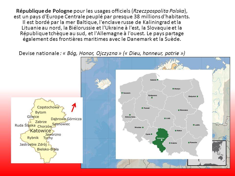 République de Pologne pour les usages officiels (Rzeczpospolita Polska), est un pays d Europe Centrale peuplé par presque 38 millions d habitants. Il est bordé par la mer Baltique, l enclave russe de Kaliningrad et la Lituanie au nord, la Biélorussie et l Ukraine à l est, la Slovaquie et la République tchèque au sud, et l Allemagne à l ouest. Le pays partage également des frontières maritimes avec le Danemark et la Suède.