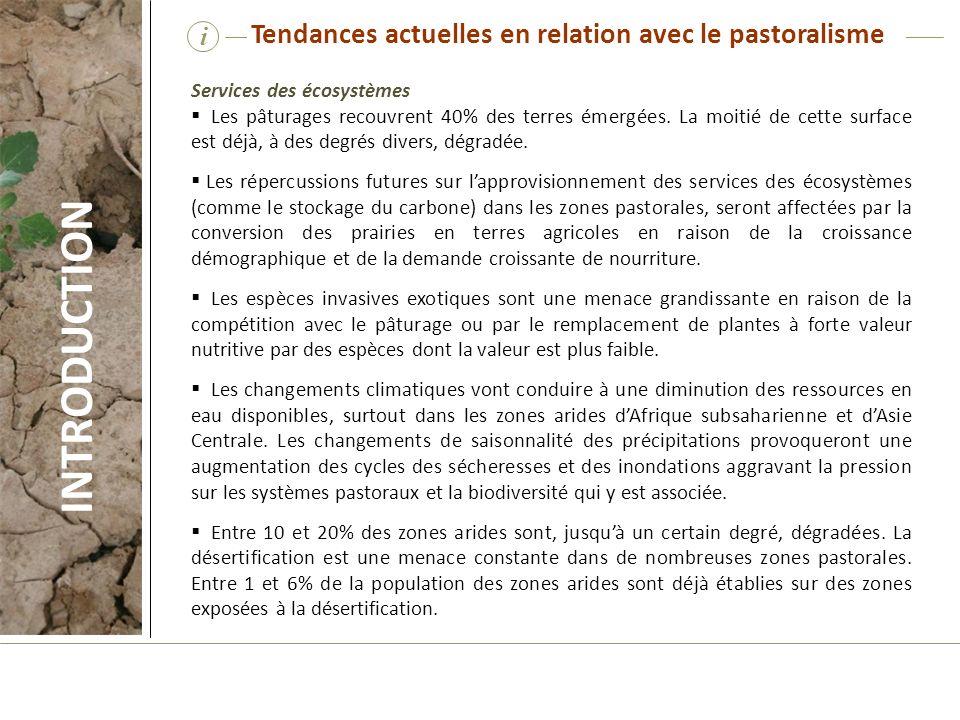 INTRODUCTION Tendances actuelles en relation avec le pastoralisme i