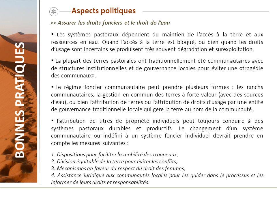 BONNES PRATIQUES Aspects politiques