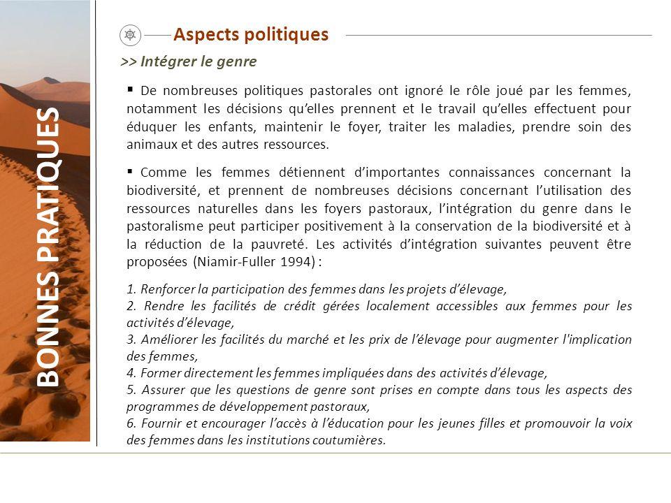 BONNES PRATIQUES Aspects politiques >> Intégrer le genre