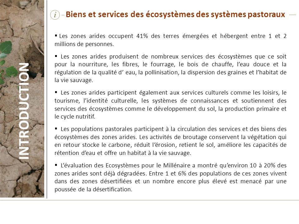 INTRODUCTION Biens et services des écosystèmes des systèmes pastoraux