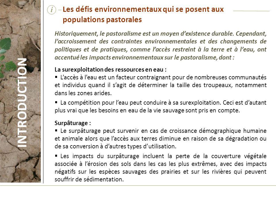 i Les défis environnementaux qui se posent aux populations pastorales.