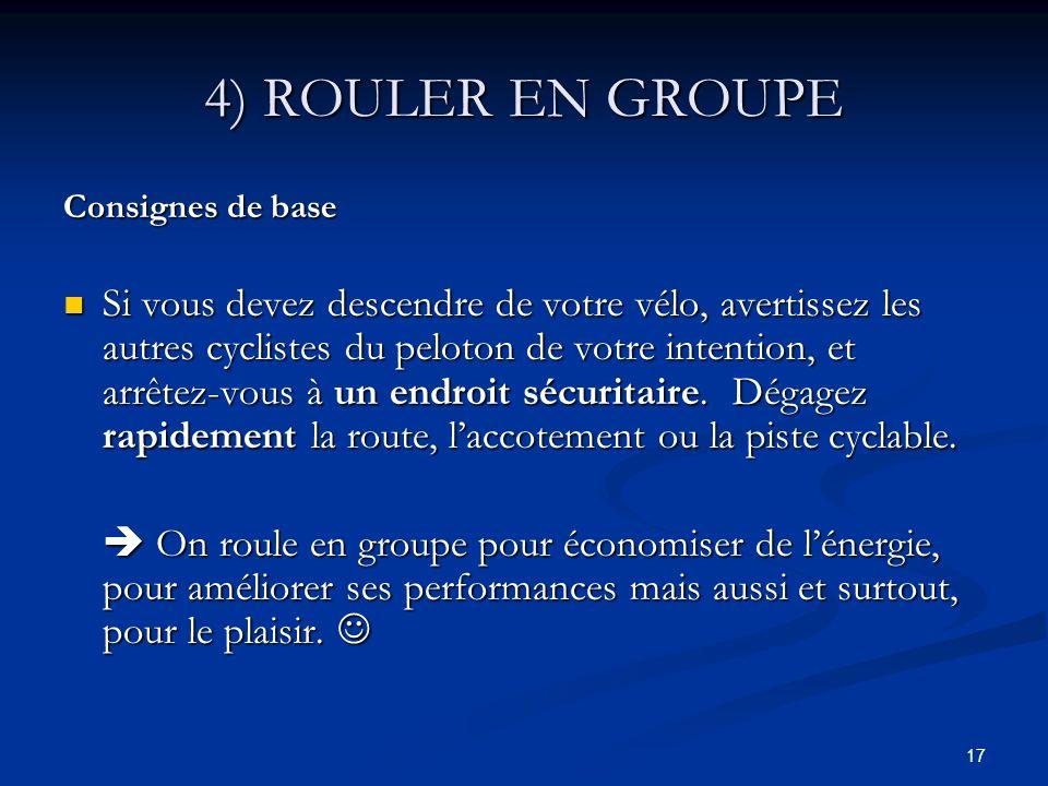 4) ROULER EN GROUPE Consignes de base.