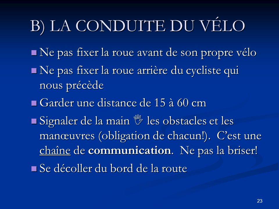 B) LA CONDUITE DU VÉLO Ne pas fixer la roue avant de son propre vélo