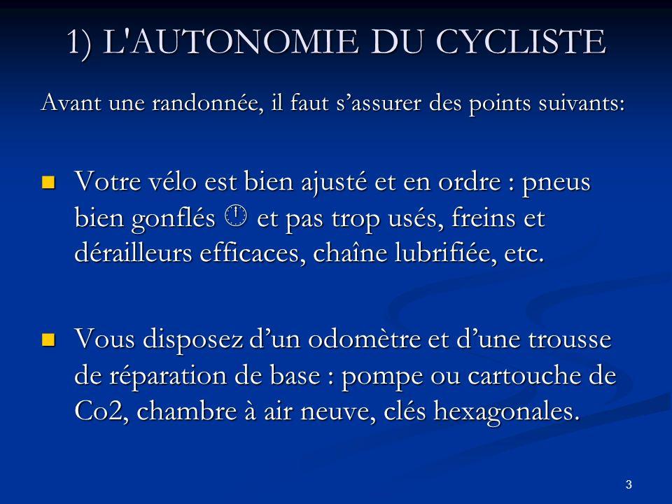 1) L AUTONOMIE DU CYCLISTE