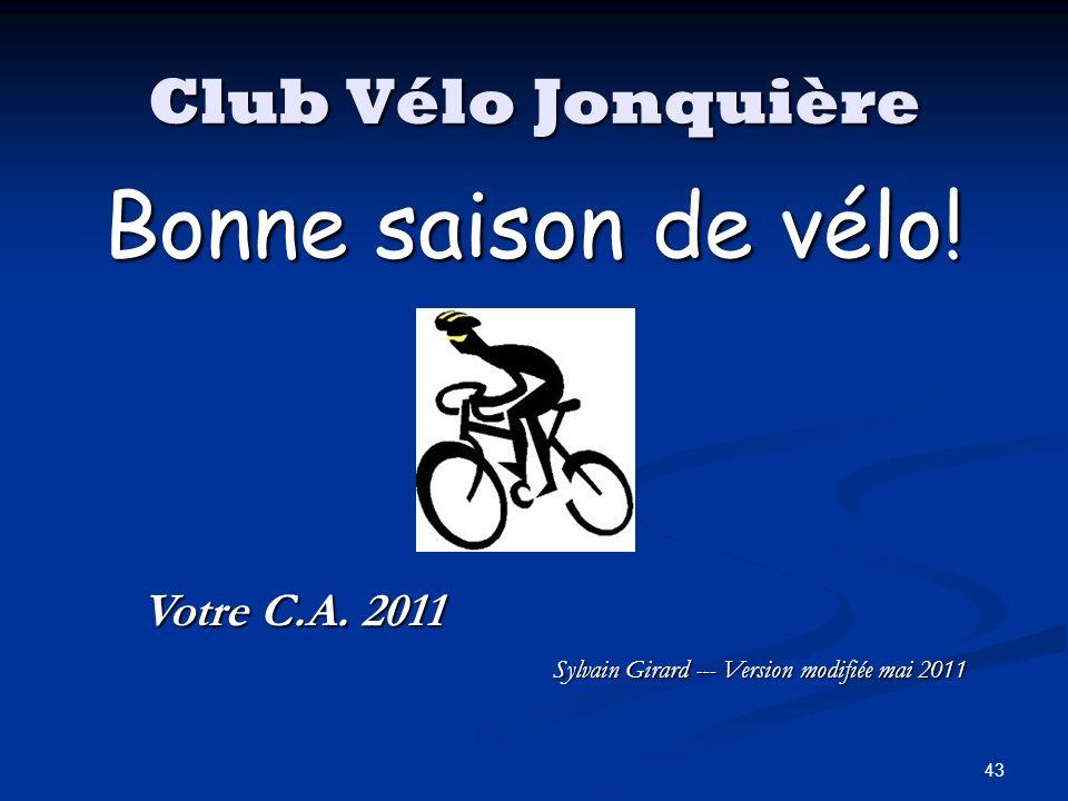 Bonne saison de vélo! Club Vélo Jonquière Votre C.A. 2011