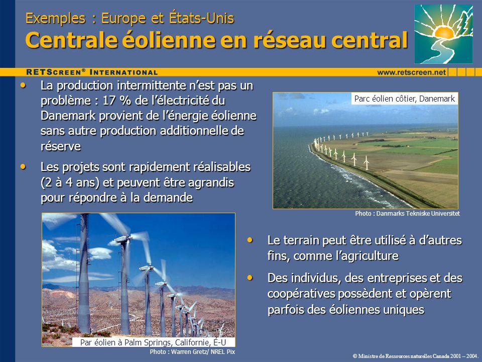 Exemples : Europe et États-Unis Centrale éolienne en réseau central