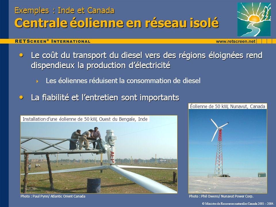 Exemples : Inde et Canada Centrale éolienne en réseau isolé