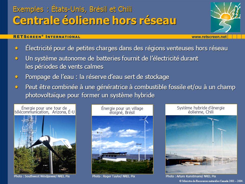 Exemples : États-Unis, Brésil et Chili Centrale éolienne hors réseau