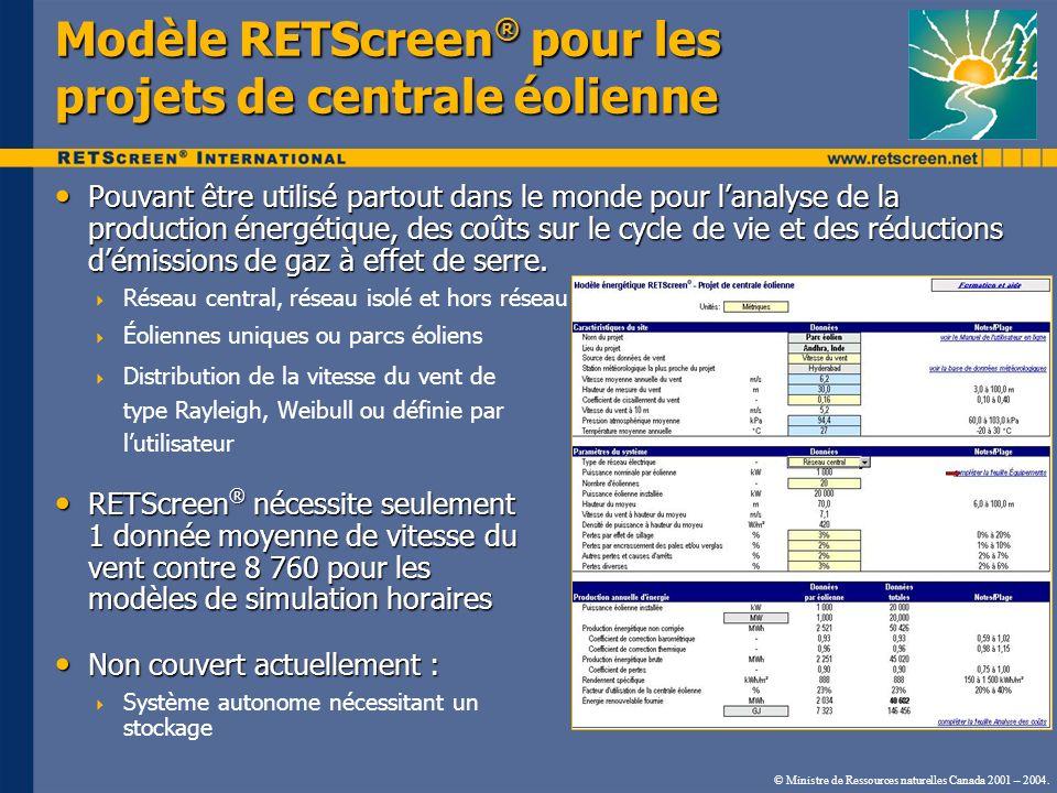 Modèle RETScreen® pour les projets de centrale éolienne