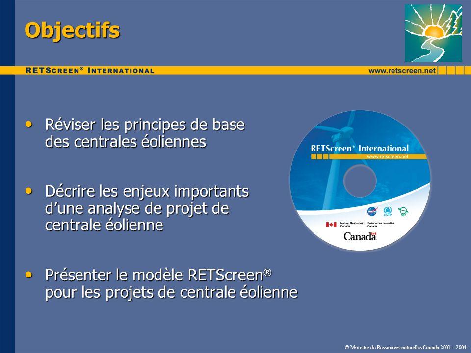 Objectifs Réviser les principes de base des centrales éoliennes
