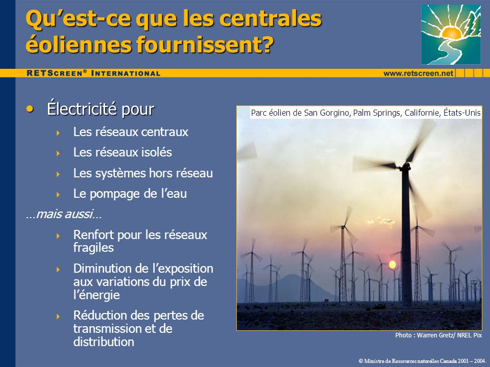 Qu'est-ce que les centrales éoliennes fournissent