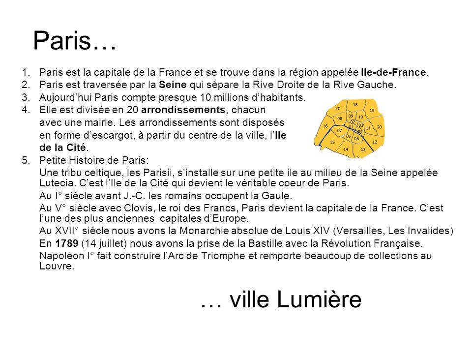 Paris… Paris est la capitale de la France et se trouve dans la région appelée Ile-de-France.