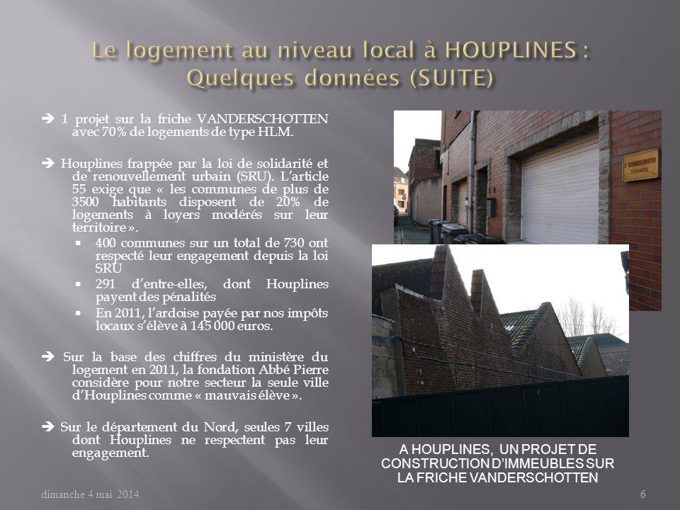 Le logement au niveau local à HOUPLINES : Quelques données (SUITE)