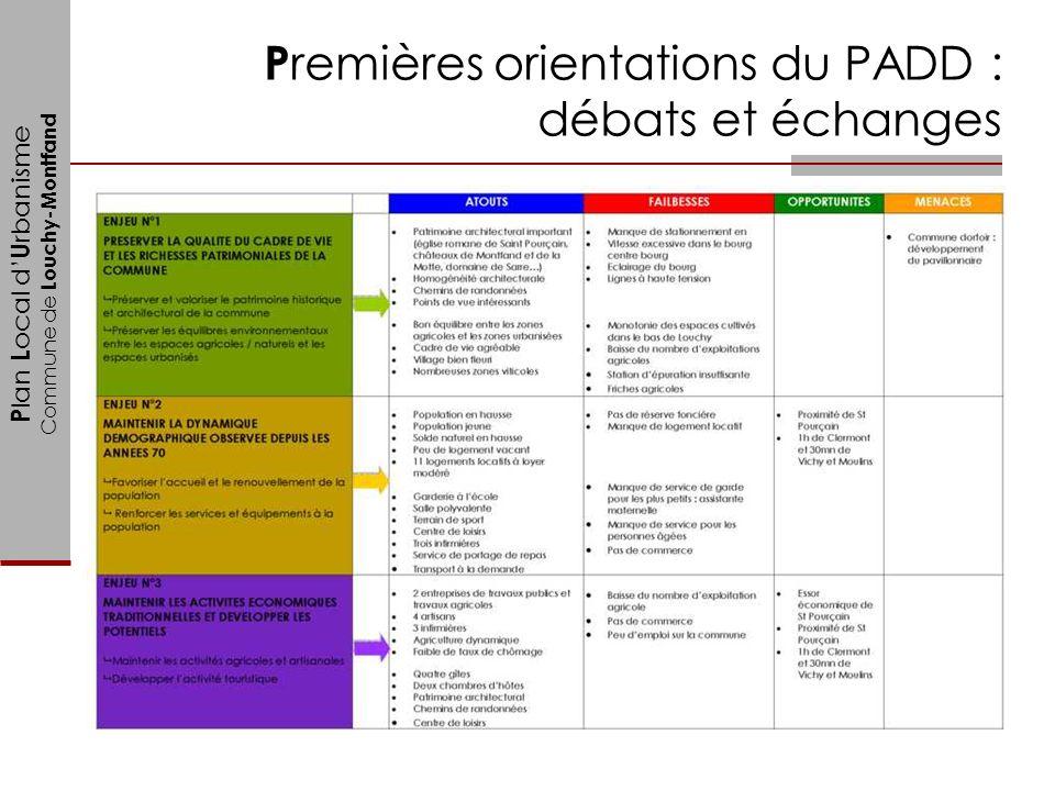 Premières orientations du PADD : débats et échanges